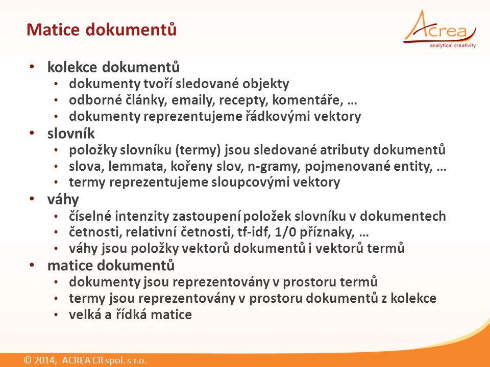 © 2014, ACREA CR spol.s r.o. d…dokument d i, i ∈ {1,2,…N} N…počet dokumentů w…term (např.