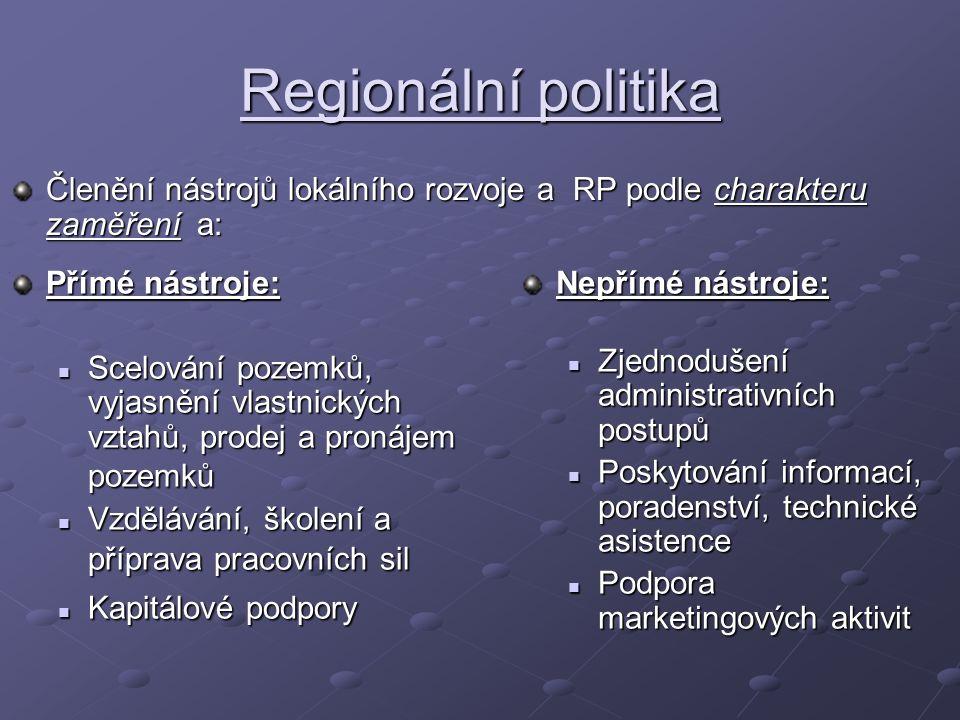 Regionální politika Členění nástrojů lokálního rozvoje a RP podle charakteru zaměření a: Nepřímé nástroje: Zjednodušení administrativních postupů Posk
