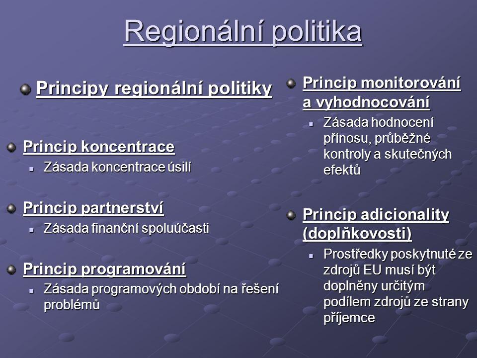 Regionální politika Principy regionální politiky Princip monitorování a vyhodnocování Zásada hodnocení přínosu, průběžné kontroly a skutečných efektů Princip adicionality (doplňkovosti) Prostředky poskytnuté ze zdrojů EU musí být doplněny určitým podílem zdrojů ze strany příjemce Princip koncentrace Zásada koncentrace úsilí Zásada koncentrace úsilí Princip partnerství Zásada finanční spoluúčasti Zásada finanční spoluúčasti Princip programování Zásada programových období na řešení problémů Zásada programových období na řešení problémů