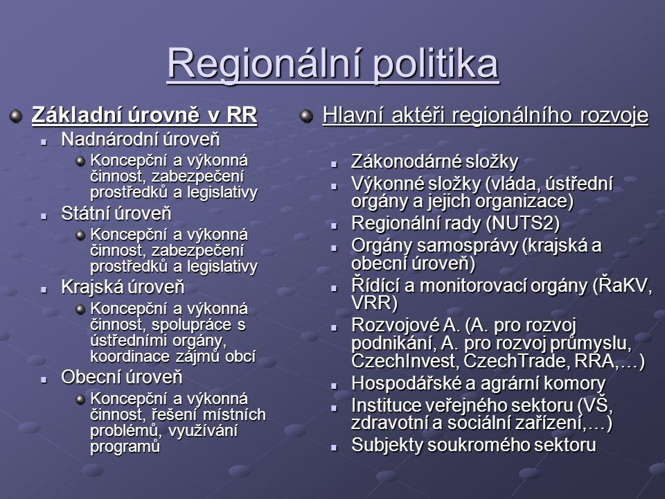 Regionální politika Základní úrovně v RR Nadnárodní úroveň Nadnárodní úroveň Koncepční a výkonná činnost, zabezpečení prostředků a legislativy Státní úroveň Státní úroveň Koncepční a výkonná činnost, zabezpečení prostředků a legislativy Krajská úroveň Krajská úroveň Koncepční a výkonná činnost, spolupráce s ústředními orgány, koordinace zájmů obcí Obecní úroveň Obecní úroveň Koncepční a výkonná činnost, řešení místních problémů, využívání programů Hlavní aktéři regionálního rozvoje Zákonodárné složky Výkonné složky (vláda, ústřední orgány a jejich organizace) Regionální rady (NUTS2) Orgány samosprávy (krajská a obecní úroveň) Řídící a monitorovací orgány (ŘaKV, VRR) Rozvojové A.