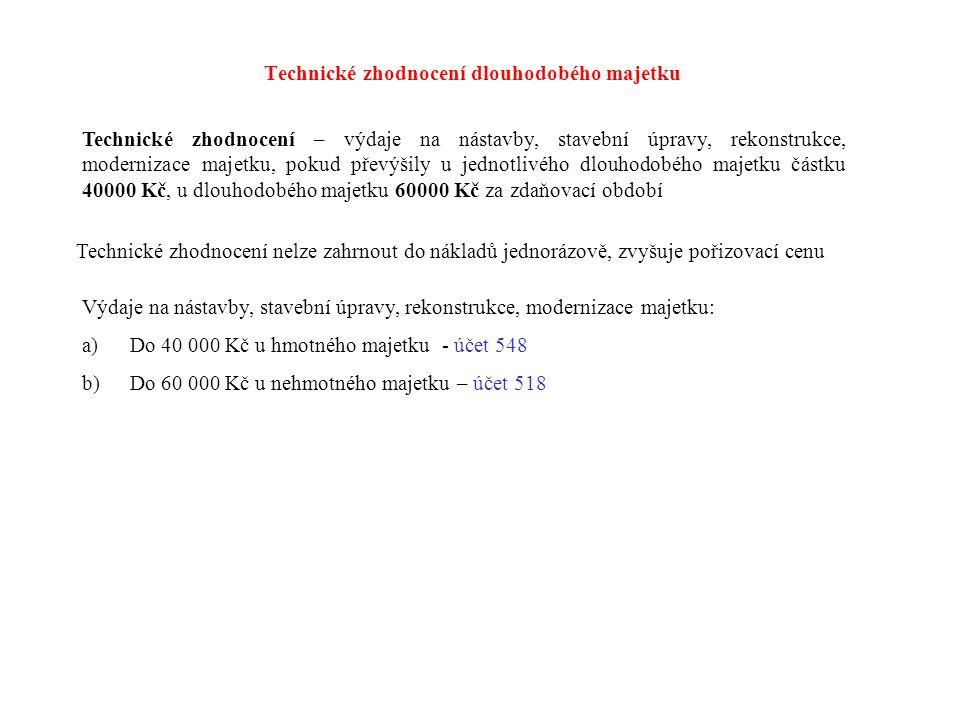 Darování dlouhodobého majetku 022 082 551 543 1.řádný odpis 2.zůstatková cena 3.vyřazení v PC