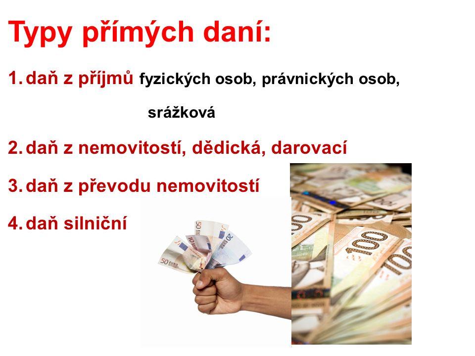 1.daně z příjmů fyzických osob fyzických osob - ze závislé činnosti – hlavně příjmy ze zaměstnání (mzda) - ze závislé činnosti – hlavně příjmy ze zaměstnání (mzda) - z podnikání a jiné SVČ (především za prodej autorských práv) - z podnikání a jiné SVČ (především za prodej autorských práv) - z kapitálového majetku ( hlavně úroky) - z kapitálového majetku ( hlavně úroky) - z pronájmu (je-li pravidelný) - z pronájmu (je-li pravidelný) - ostatní příjmy (např.