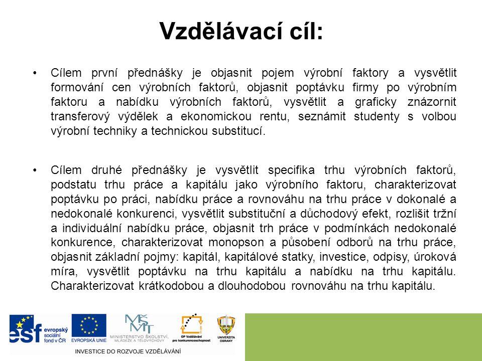 Vzdělávací cíl: Cílem první přednášky je objasnit pojem výrobní faktory a vysvětlit formování cen výrobních faktorů, objasnit poptávku firmy po výrobn