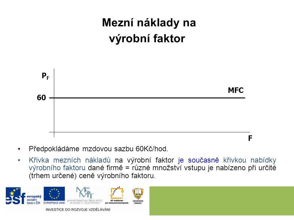 Mezní náklady na výrobní faktor Předpokládáme mzdovou sazbu 60Kč/hod.