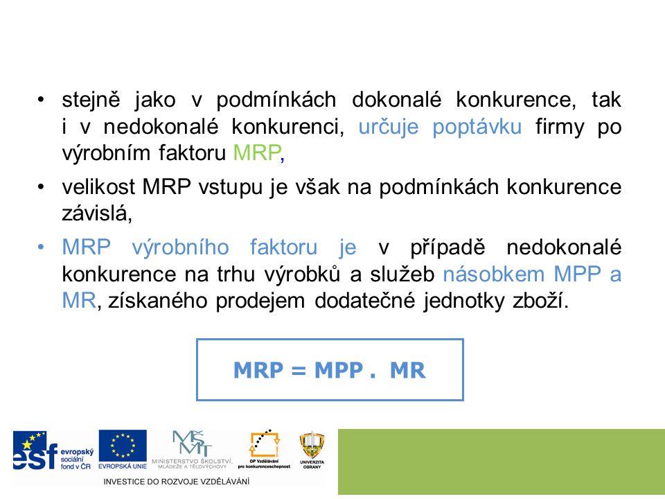 stejně jako v podmínkách dokonalé konkurence, tak i v nedokonalé konkurenci, určuje poptávku firmy po výrobním faktoru MRP, velikost MRP vstupu je však na podmínkách konkurence závislá, MRP výrobního faktoru je v případě nedokonalé konkurence na trhu výrobků a služeb násobkem MPP a MR, získaného prodejem dodatečné jednotky zboží.