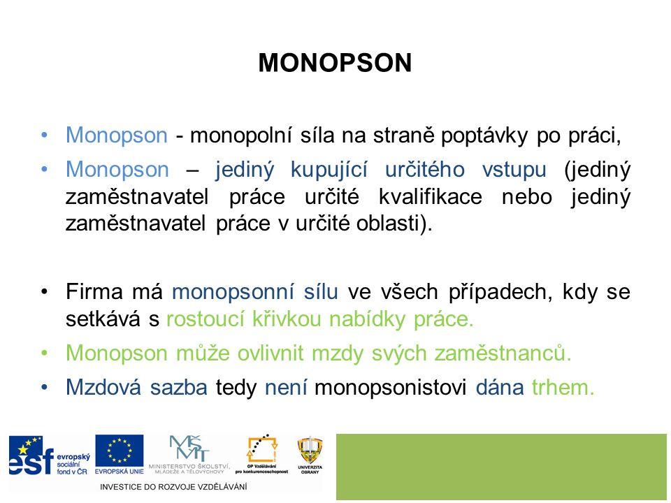 MONOPSON Monopson - monopolní síla na straně poptávky po práci, Monopson – jediný kupující určitého vstupu (jediný zaměstnavatel práce určité kvalifikace nebo jediný zaměstnavatel práce v určité oblasti).