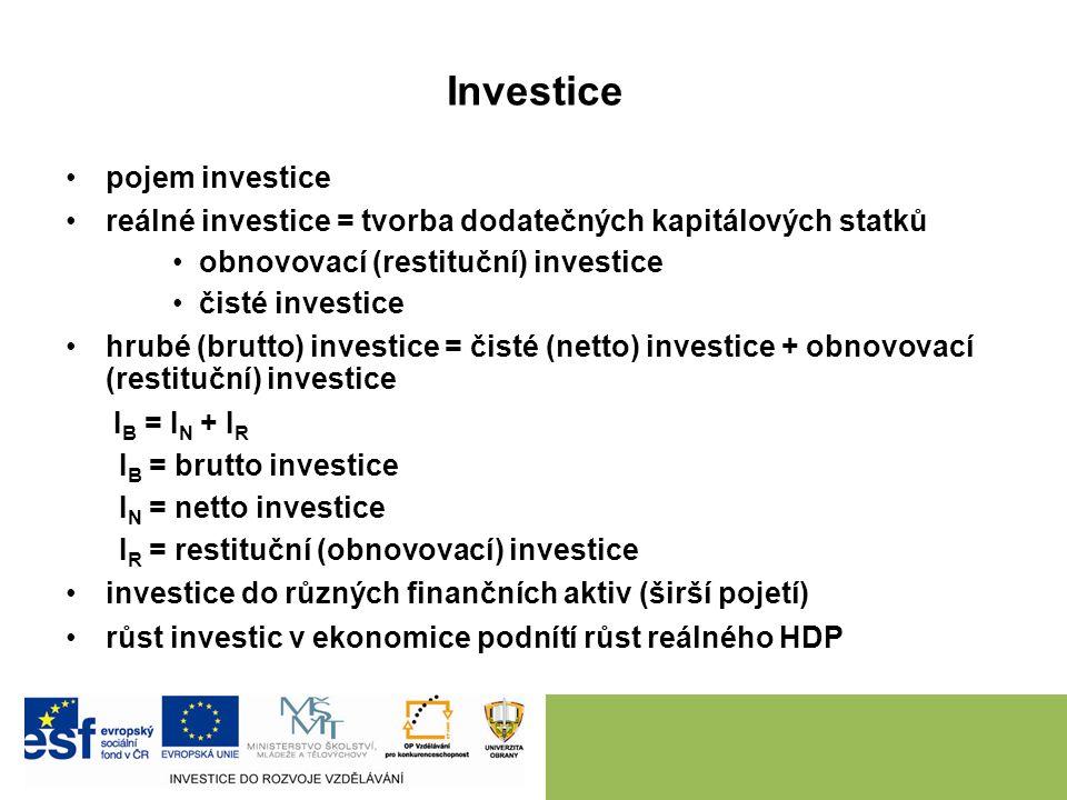 Investice pojem investice reálné investice = tvorba dodatečných kapitálových statků obnovovací (restituční) investice čisté investice hrubé (brutto) investice = čisté (netto) investice + obnovovací (restituční) investice I B = I N + I R I B = brutto investice I N = netto investice I R = restituční (obnovovací) investice investice do různých finančních aktiv (širší pojetí) růst investic v ekonomice podnítí růst reálného HDP