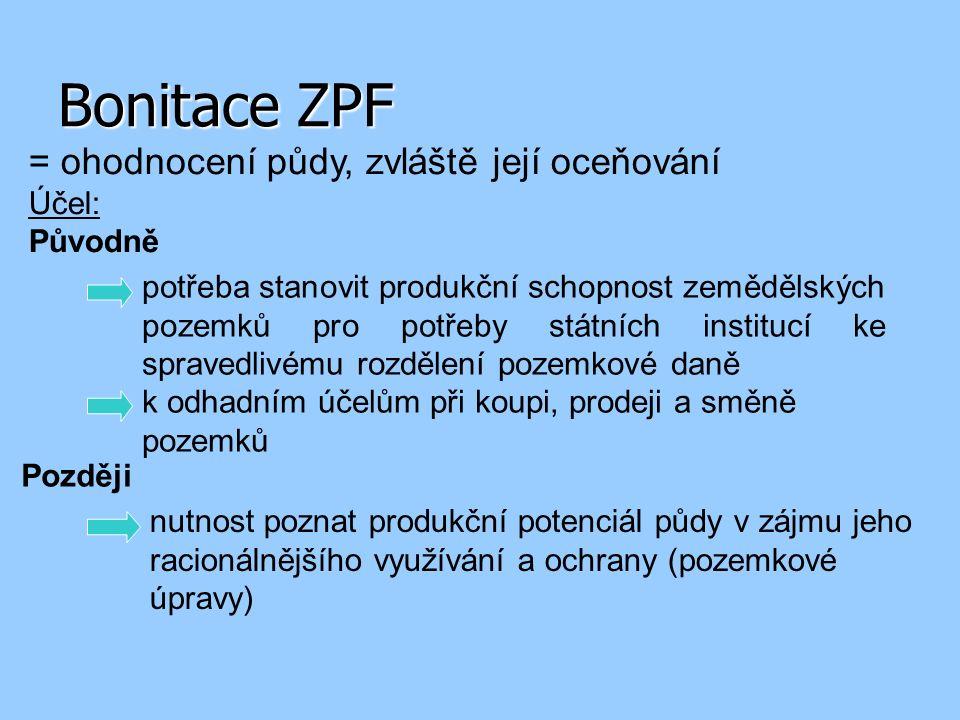 Bonitace ZPF = ohodnocení půdy, zvláště její oceňování Účel: Původně potřeba stanovit produkční schopnost zemědělských pozemků pro potřeby státních institucí ke spravedlivému rozdělení pozemkové daně k odhadním účelům při koupi, prodeji a směně pozemků Později nutnost poznat produkční potenciál půdy v zájmu jeho racionálnějšího využívání a ochrany (pozemkové úpravy)