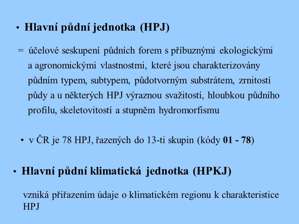 Hlavní půdní jednotka (HPJ) = účelové seskupení půdních forem s příbuznými ekologickými a agronomickými vlastnostmi, které jsou charakterizovány půdním typem, subtypem, půdotvorným substrátem, zrnitostí půdy a u některých HPJ výraznou svažitostí, hloubkou půdního profilu, skeletovitostí a stupněm hydromorfismu v ČR je 78 HPJ, řazených do 13-ti skupin (kódy 01 - 78) Hlavní půdní klimatická jednotka (HPKJ) vzniká přiřazením údaje o klimatickém regionu k charakteristice HPJ