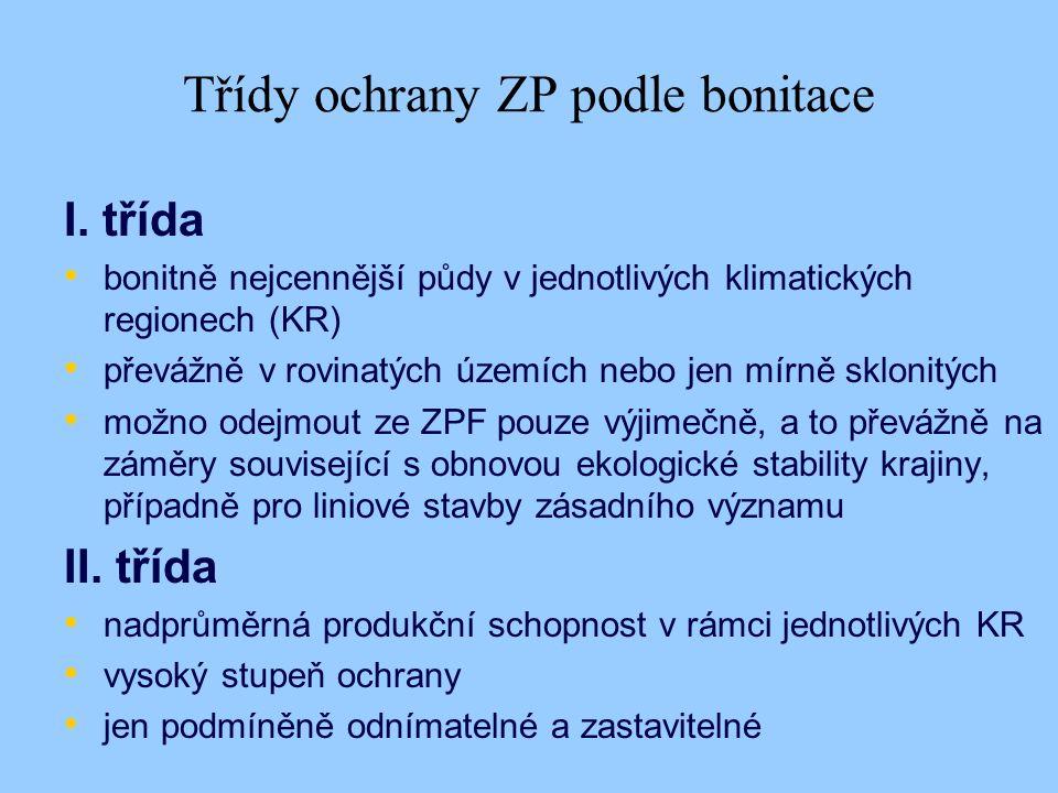 Třídy ochrany ZP podle bonitace I.