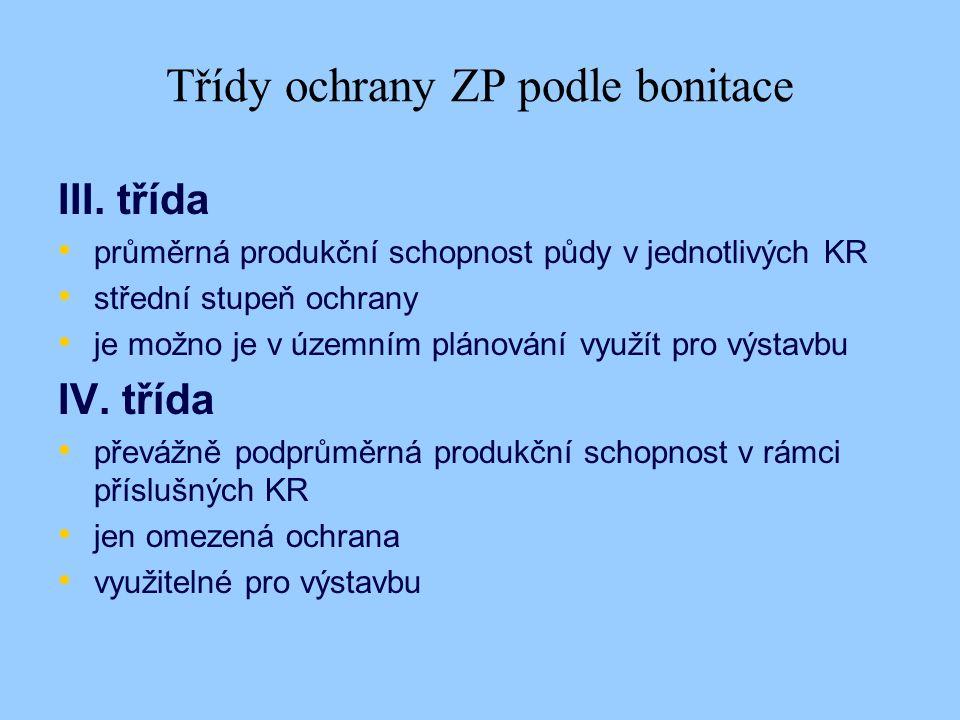 Třídy ochrany ZP podle bonitace III.