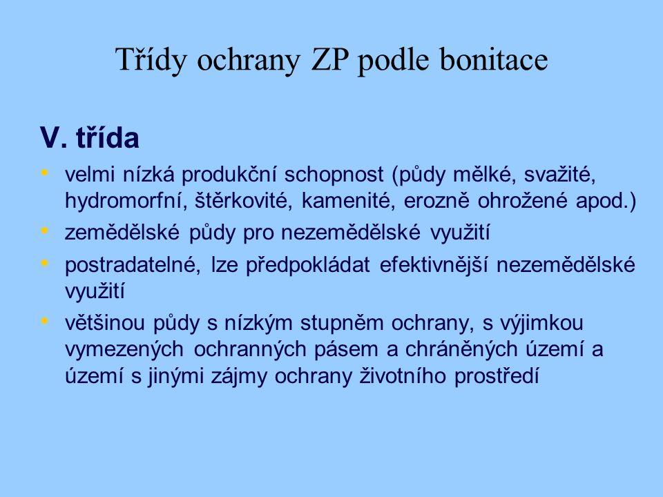 Třídy ochrany ZP podle bonitace V.