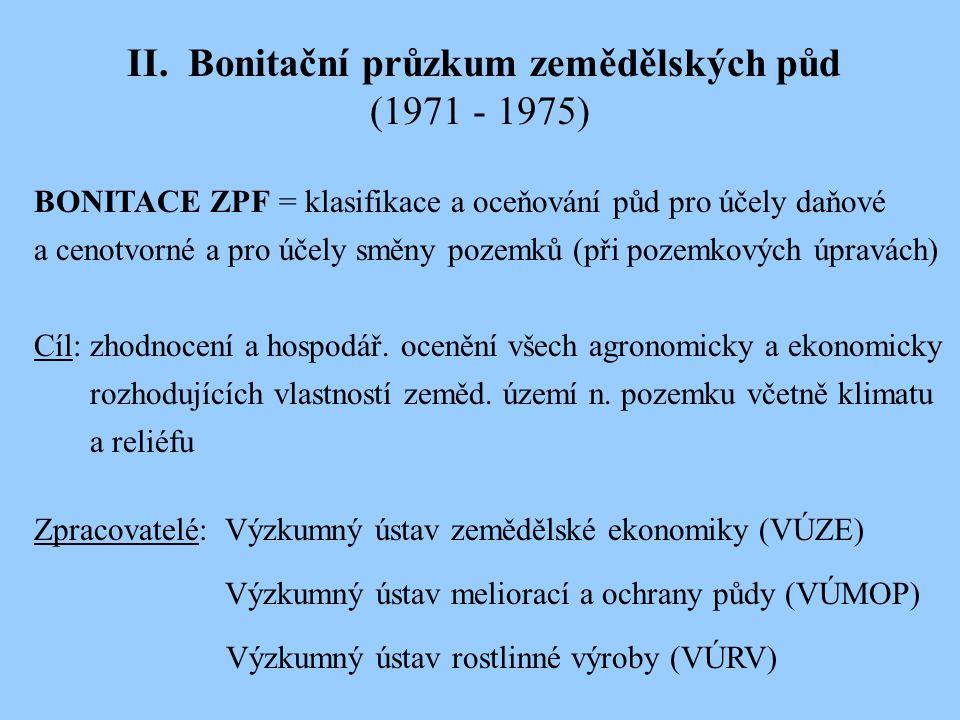II. Bonitační průzkum zemědělských půd (1971 - 1975) BONITACE ZPF = klasifikace a oceňování půd pro účely daňové a cenotvorné a pro účely směny pozemk