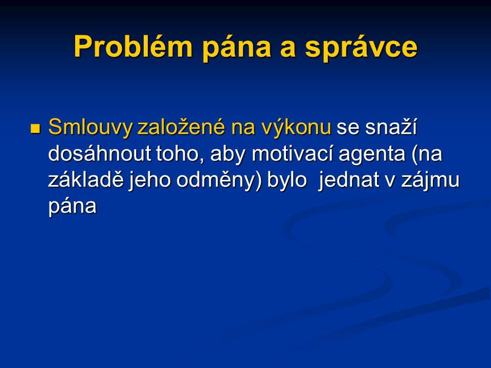 Problém pána a správce Problém pána a správce lze nalézt ve většině vztahů zaměstnavatel/zaměstnanec, kdy zaměstnavatel nemůže nepřetržitě sledovat ús