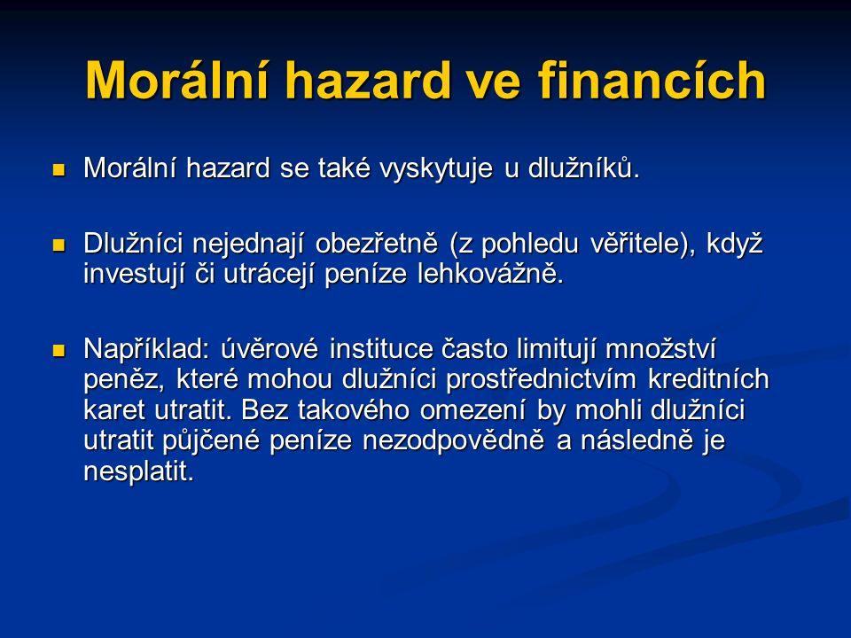 Morální hazard ve financích Finanční pomoc úvěrovým institucím ze strany vlád, centrálních bank či jiných autorit může podpořit riskantní poskytování