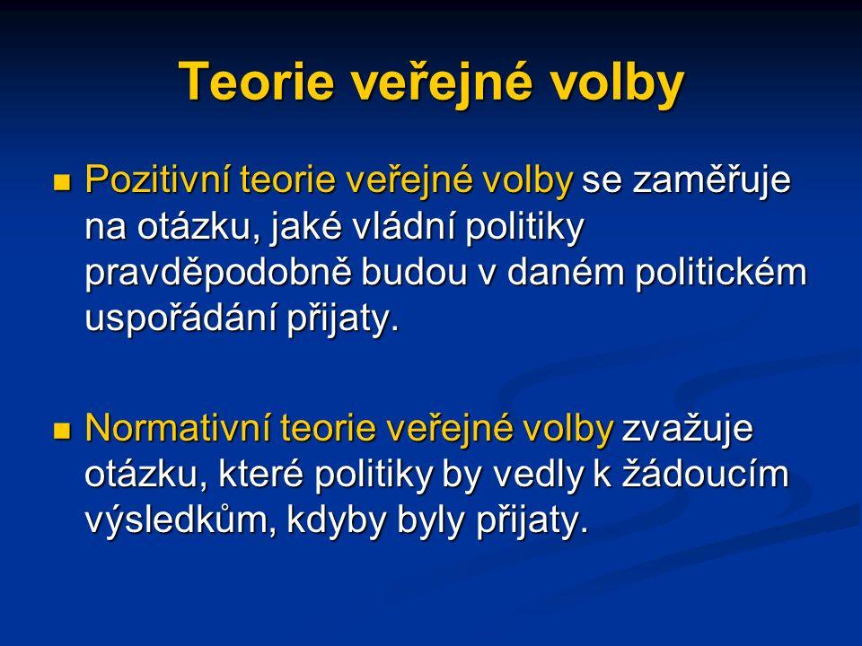Teorie veřejné volby Teorie veřejné volby popisuje, jak se přijímání politických rozhodnutí může opírat o postupy, který se nemusí shodovat obecným zájmem (blahem) veřejnosti.