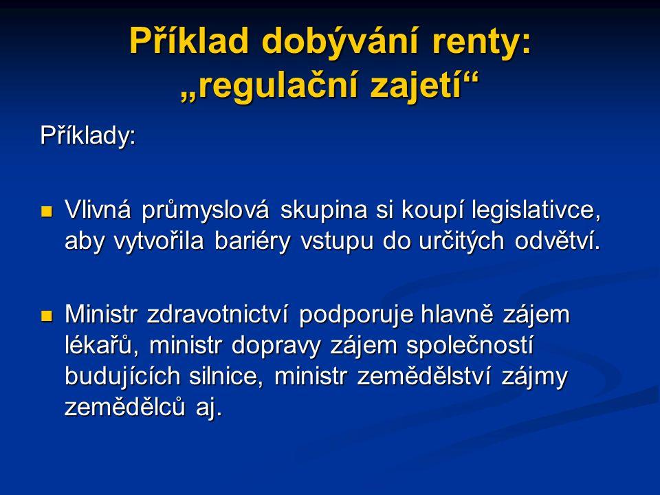 """Příklad dobývání renty: """"regulační zajetí Jednání jednotlivců, skupin nebo firem s cílem ovlivnit vytváření zákonů, regulací, vyhlášek a další vládní postupy ve svůj vlastní prospěch."""