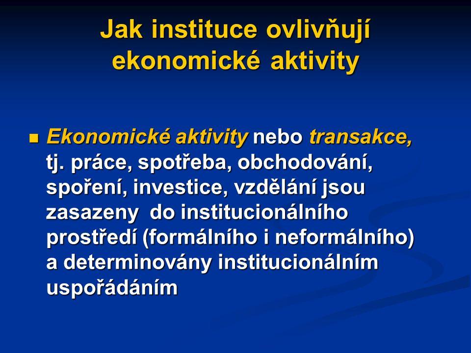 Institucionální uspořádání  institucionálním uspořádáním  K ekonomicky důležitým institucionálním uspořádáním patří peníze, smlouvy, konkrétní trhy a jejich struktury, firmy a jejich typy (např.