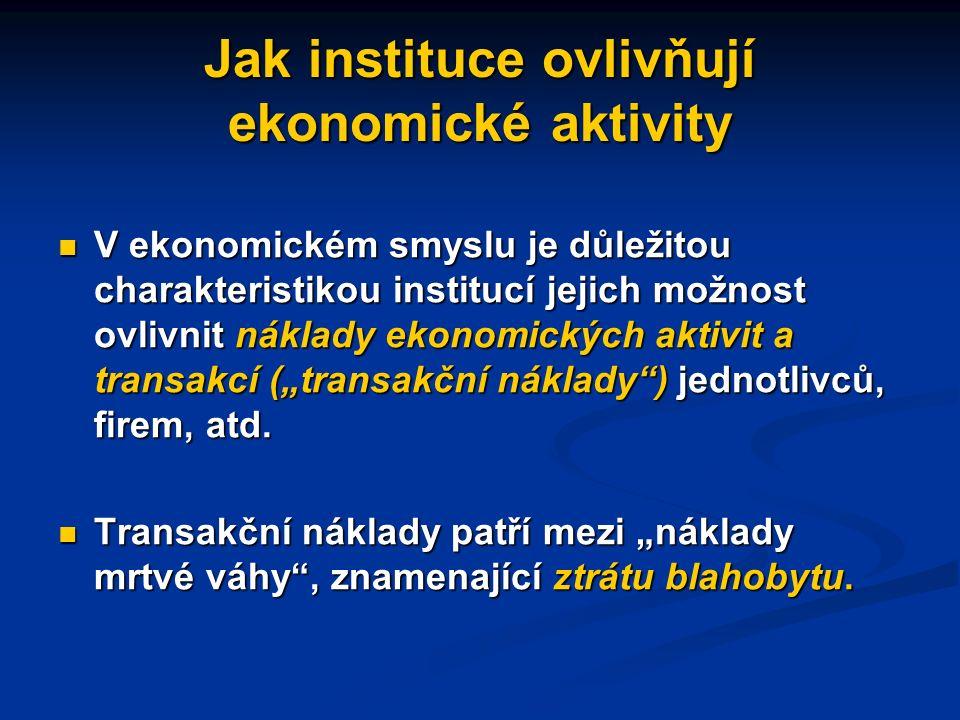 Jak instituce ovlivňují ekonomické aktivity Instituce, formální i neformální, mohou společensky významné ekonomické aktivity a transakce buď podporovat (usnadňovat, zvyšovat motivaci k jejich provádění), Instituce, formální i neformální, mohou společensky významné ekonomické aktivity a transakce buď podporovat (usnadňovat, zvyšovat motivaci k jejich provádění), nebo jim mohou spíše bránit nebo jim mohou spíše bránit ekonomický růst vyžaduje instituce, které umožňují/podporují produktivitu a kreativitu ekonomický růst vyžaduje instituce, které umožňují/podporují produktivitu a kreativitu