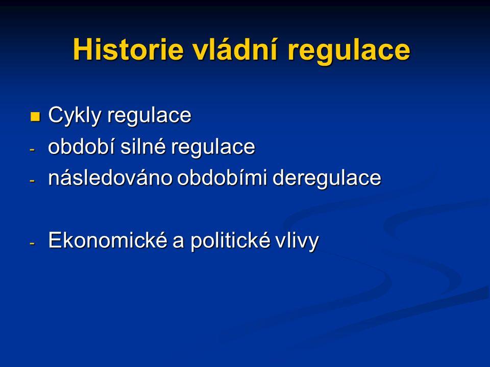 Sociální regulace Zvýšila se podstatně koncem 60. let a v 70. letech Zvýšila se podstatně koncem 60. let a v 70. letech Rozsah a rámec regulatorních a