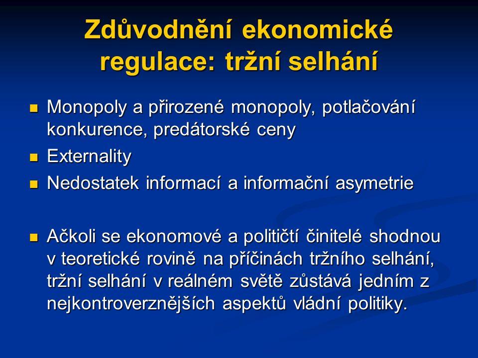 Ekonomie regulace: Hlavní otázky Jaké je zdůvodnění regulace? Jaké je zdůvodnění regulace? Čí zájem je representován v regulaci? Někdy regulatorní kom