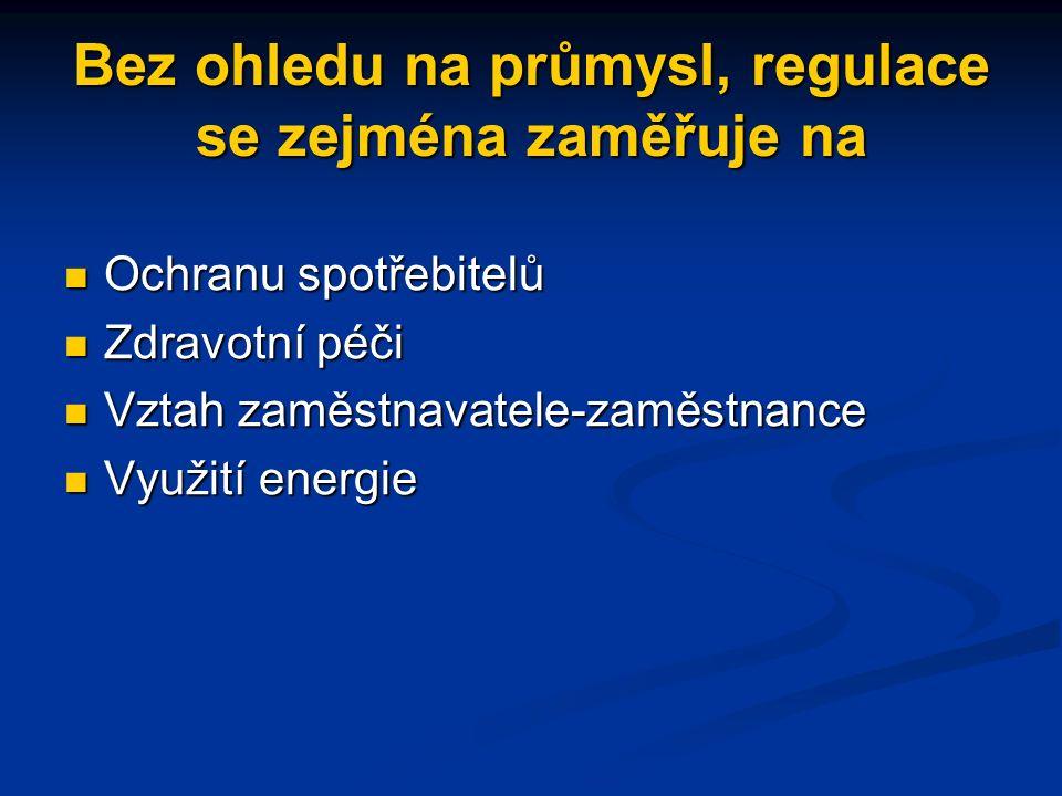 Ekonomická regulace se zaměřuje zejména na některá průmyslová odvětví/oblasti Letecká přeprava Letecká přeprava Elektřina Elektřina Plyn Plyn Telekomu