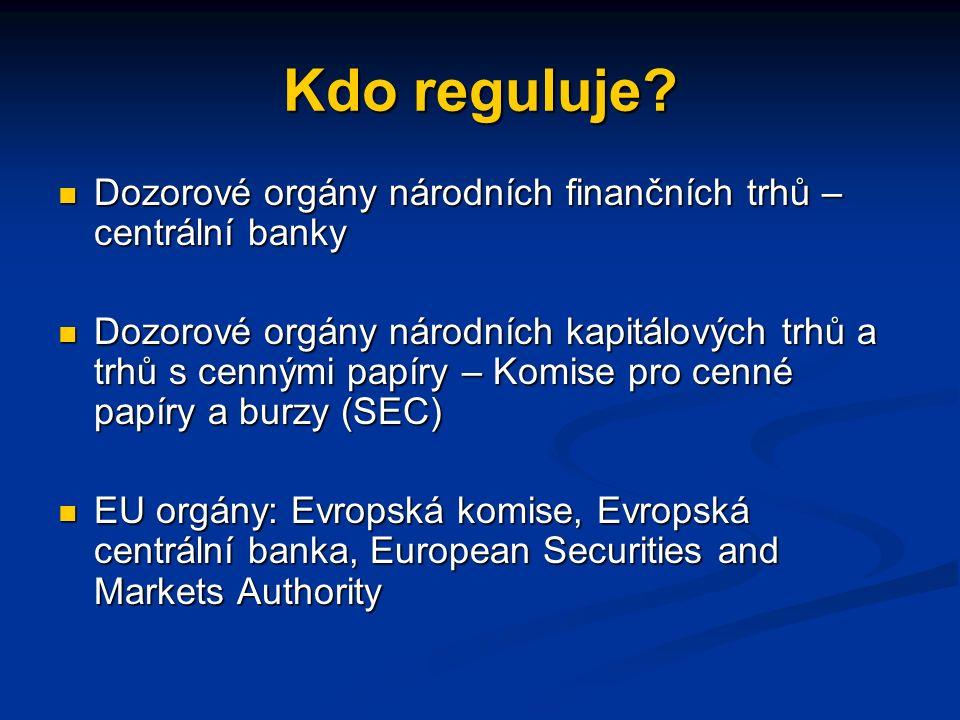 Co je (může být) regulováno na finančním trhu. Finanční zprostředkovatelé – banky, brokeři,..