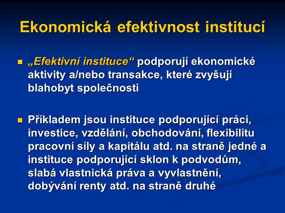 Ekonomická efektivnost institucí Obdobným kritériem (vedle nákladů) pro hodnocení institucí je jejich efektivnost.