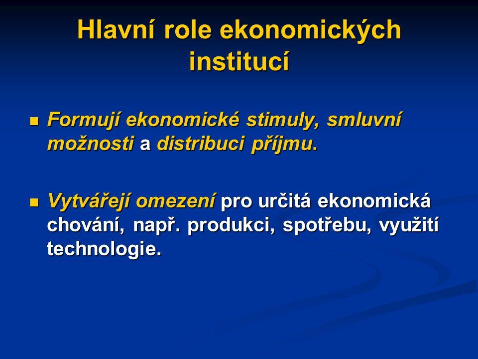 Instituce, které mají význam pro ekonomickou výkonnost mohou být ekonomické i politické Ekonomické instituce: vlastnická práva, smlouvy a jejich vynucení (např.