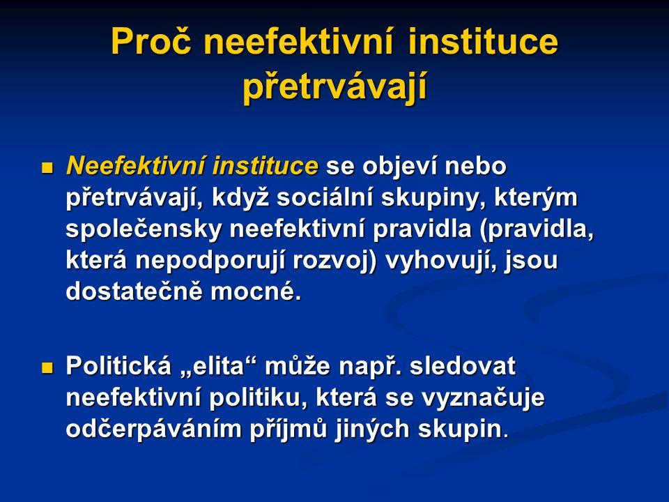 Neefektivní instituce nemizejí samy od sebe Osoby či skupiny prosazující změny institucí chtějí dosáhnout výsledku, který bude zvyšovat jejich osobní nebo skupinový blahobyt Změny institucí Změny institucí