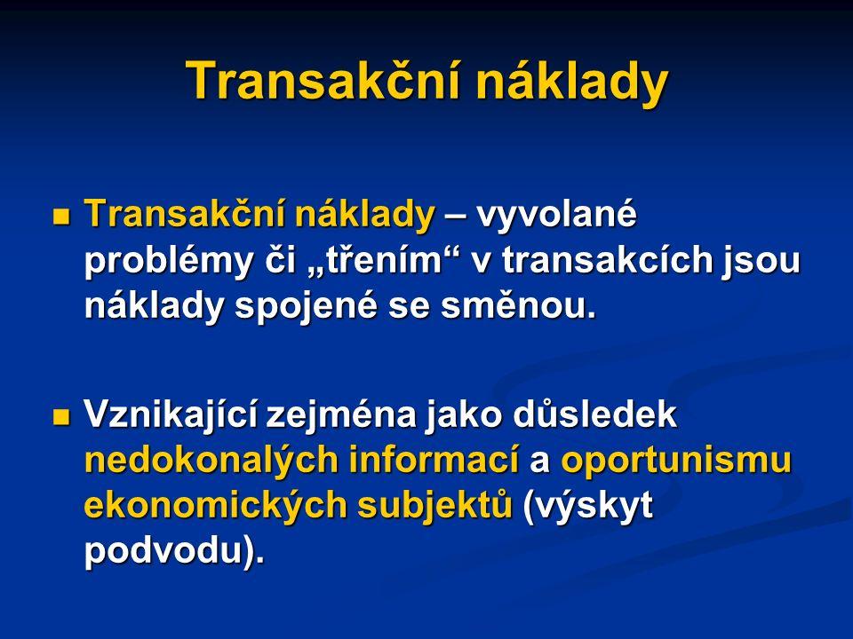 Transakční náklady Ekonomika jako celek je souborem transakcí potenciálně zvyšujících blahobyt jejich účastníků.