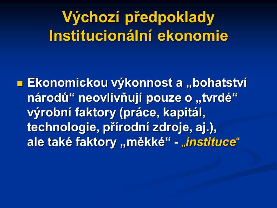 Konkrétní úkoly IE Popsat, jak je určité ekonomické chování ovlivněno institucemi Popsat, jak je určité ekonomické chování ovlivněno institucemi Ukázat, jak (proč) některé ekonomiky vyvinuly instituce , které zajišťují růst a rozvoj, zatímco jiné si uchovávají instituce vedoucí k vysokým nákladům, ekonomickým problémům a stagnaci Ukázat, jak (proč) některé ekonomiky vyvinuly instituce , které zajišťují růst a rozvoj, zatímco jiné si uchovávají instituce vedoucí k vysokým nákladům, ekonomickým problémům a stagnaci