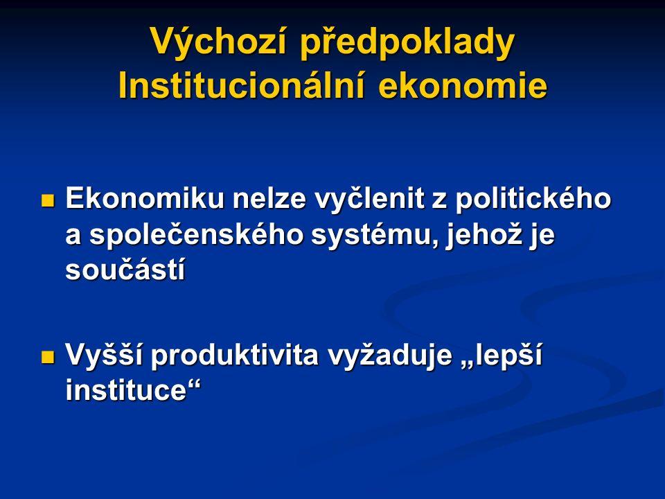 """Výchozí předpoklady Institucionální ekonomie Ekonomiku nelze vyčlenit z politického a společenského systému, jehož je součástí Ekonomiku nelze vyčlenit z politického a společenského systému, jehož je součástí Vyšší produktivita vyžaduje """"lepší instituce Vyšší produktivita vyžaduje """"lepší instituce"""