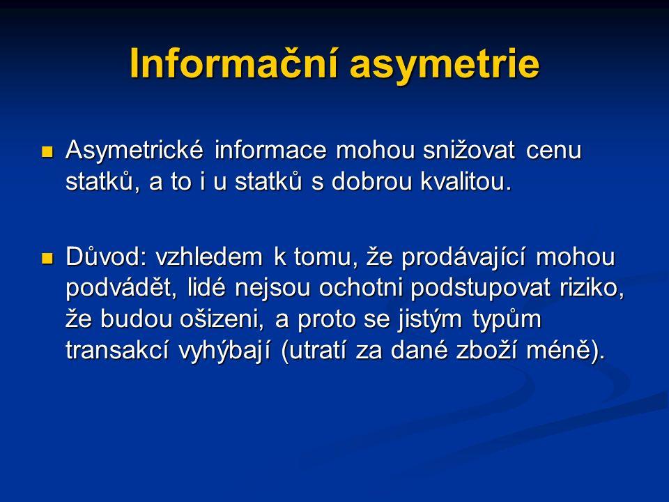 """Informační asymetrie Finanční ekonomie ukazuje na informační asymetrii vznikající v důsledku rozdílné informovanosti účastníků finančních trhů (""""insideři , analytici akcií, investoři, atd.)."""