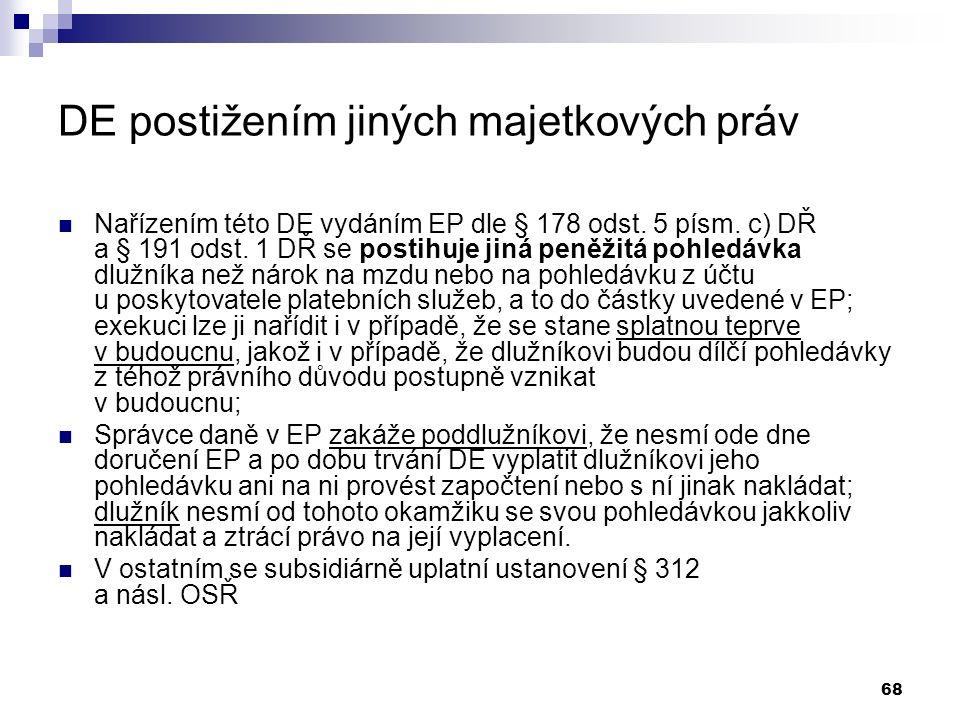 68 DE postižením jiných majetkových práv Nařízením této DE vydáním EP dle § 178 odst.