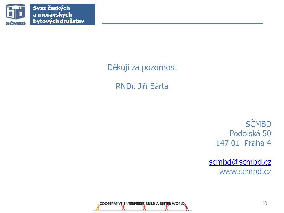 10 Svaz českých a moravských bytových družstev Děkuji za pozornost RNDr. Jiří Bárta SČMBD Podolská 50 147 01 Praha 4 scmbd@scmbd.cz www.scmbd.cz