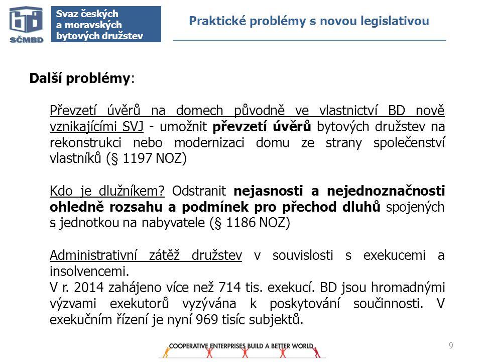 9 Svaz českých a moravských bytových družstev Další problémy: Převzetí úvěrů na domech původně ve vlastnictví BD nově vznikajícími SVJ - umožnit převz
