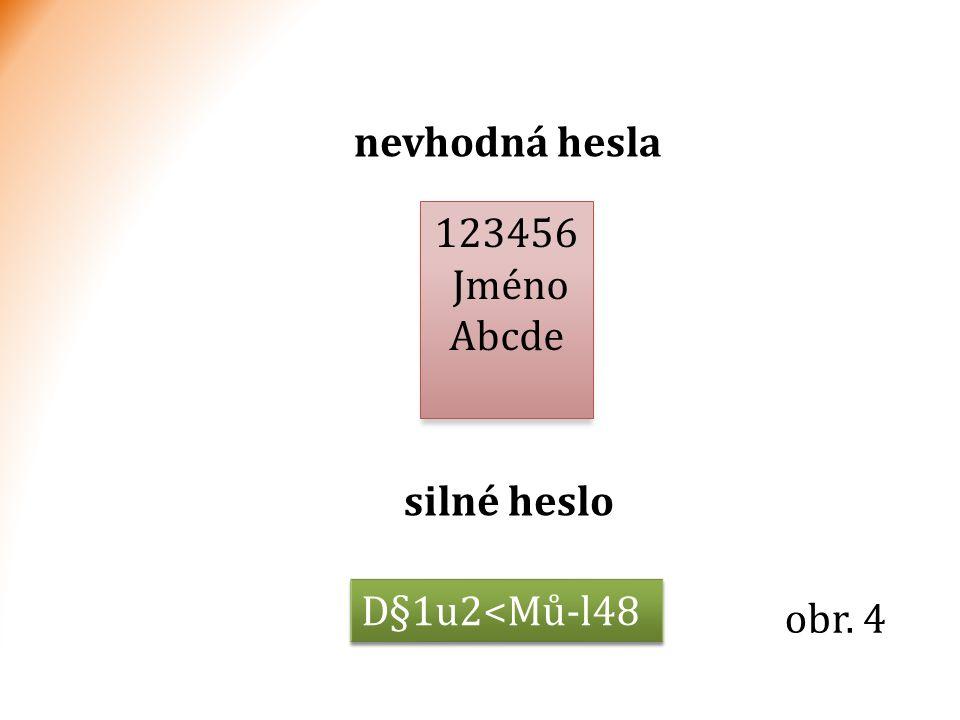 nevhodná hesla silné heslo 123456 Jméno Abcde D§1u2<Mů-l48 obr. 4