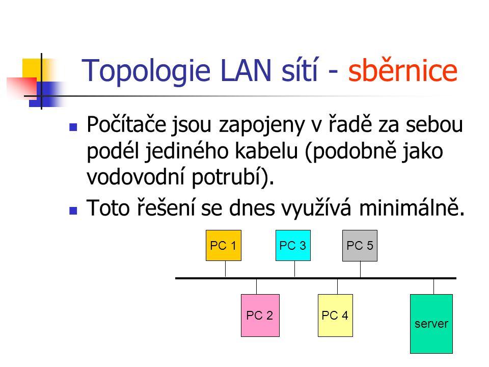 Topologie LAN sítí - sběrnice Počítače jsou zapojeny v řadě za sebou podél jediného kabelu (podobně jako vodovodní potrubí). Toto řešení se dnes využí