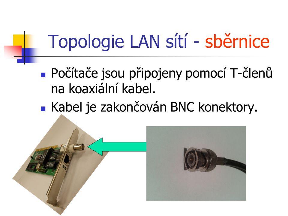 Topologie LAN sítí - sběrnice Počítače jsou připojeny pomocí T-členů na koaxiální kabel. Kabel je zakončován BNC konektory.
