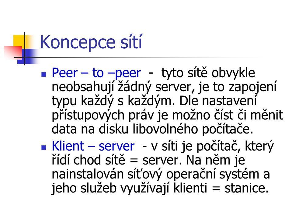 Koncepce sítí Peer – to –peer - tyto sítě obvykle neobsahují žádný server, je to zapojení typu každý s každým. Dle nastavení přístupových práv je možn