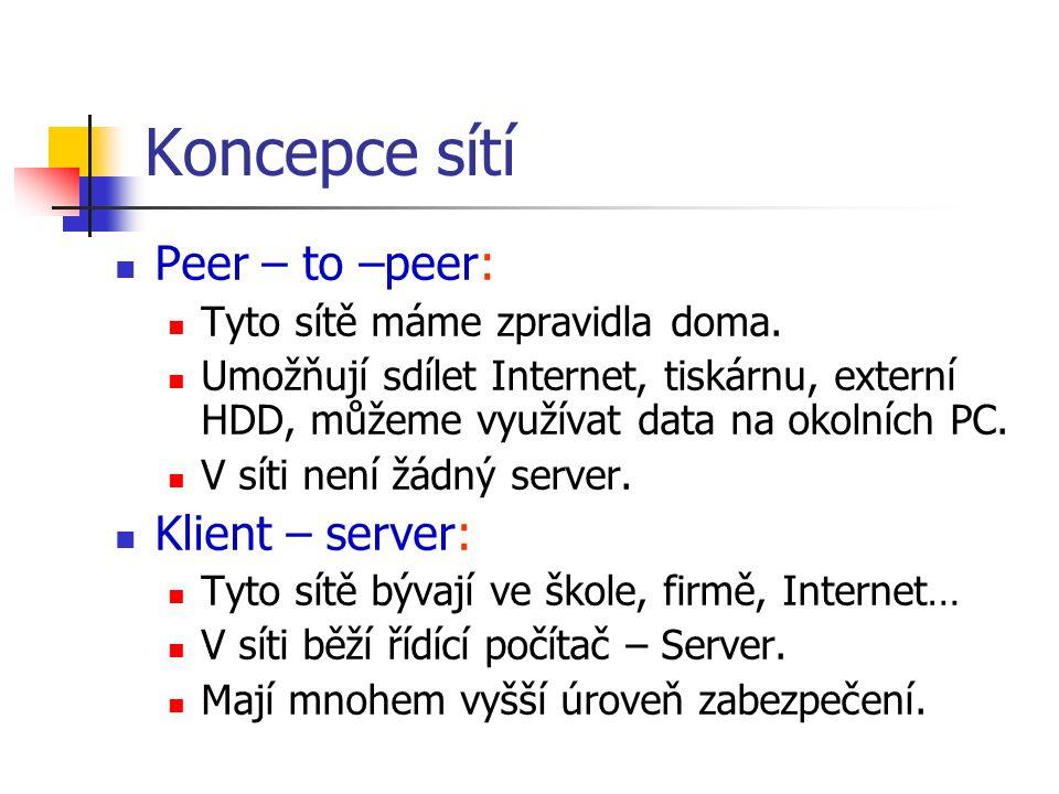 Koncepce sítí Peer – to –peer: Tyto sítě máme zpravidla doma. Umožňují sdílet Internet, tiskárnu, externí HDD, můžeme využívat data na okolních PC. V