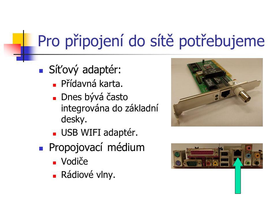 Pro připojení do sítě potřebujeme Síťový adaptér: Přídavná karta. Dnes bývá často integrována do základní desky. USB WIFI adaptér. Propojovací médium