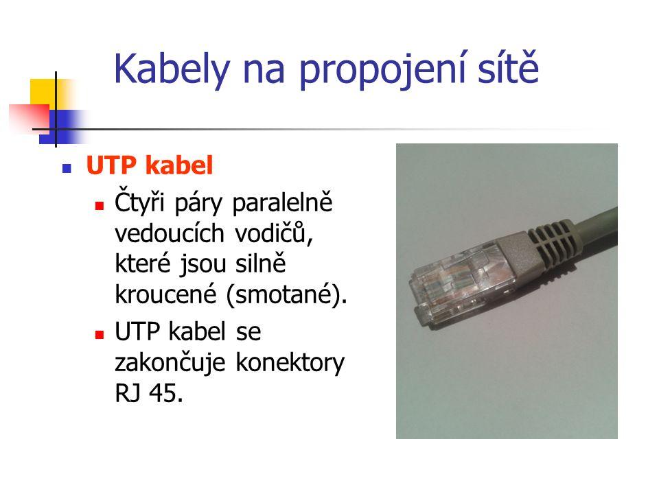 Kabely na propojení sítě UTP kabel Čtyři páry paralelně vedoucích vodičů, které jsou silně kroucené (smotané).