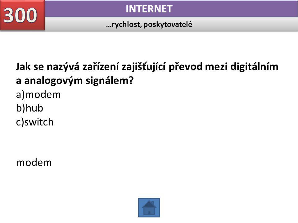…rychlost, poskytovatelé INTERNET Jak se nazývá zařízení zajišťující převod mezi digitálním a analogovým signálem? a)modem b)hub c)switch modem