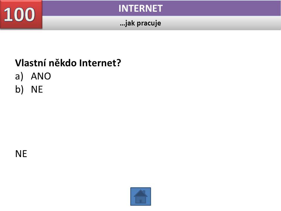…jak pracuje INTERNET Vlastní někdo Internet? a)ANO b)NE NE