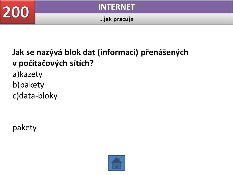 …jak pracuje INTERNET Jak se nazývá blok dat (informací) přenášených v počítačových sítích? a)kazety b)pakety c)data-bloky pakety