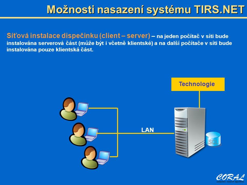 Možnosti nasazení systému TIRS.NET Síťová instalace dispečinku (client – server) – na jeden počítač v síti bude instalována serverová část (může být i včetně klientské) a na další počítače v síti bude instalována pouze klientská část.