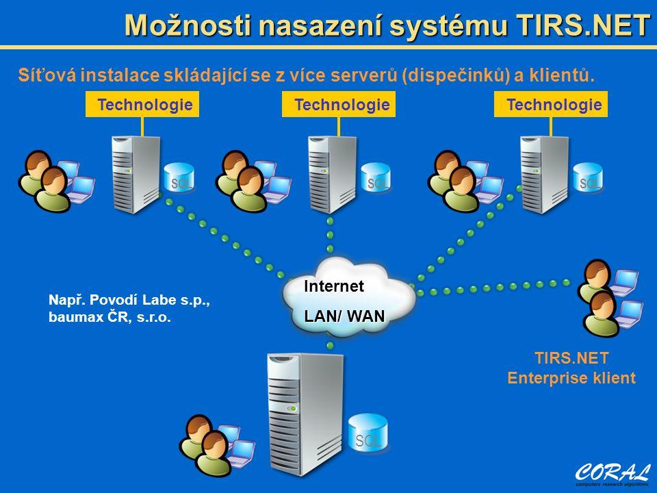 Možnosti nasazení systému TIRS.NET Síťová instalace skládající se z více serverů (dispečinků) a klientů. SQL Technologie SQL Technologie SQL Technolog