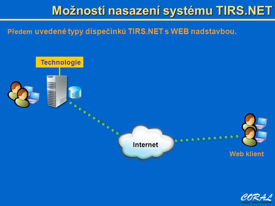 Možnosti nasazení systému TIRS.NET Předem uvedené typy dispečinků TIRS.NET s WEB nadstavbou. SQL Technologie Internet Web klient